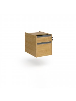 Contract 2 drawer fixed pedestal with graphite finger pull handles - oak