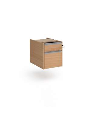 Contract 2 drawer fixed pedestal with silver finger pull handles - beech