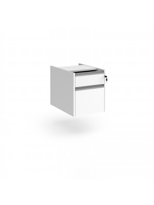 Contract 2 drawer fixed pedestal with silver finger pull handles - white