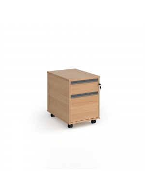 Contract 2 drawer mobile pedestal with graphite finger pull handles - beech