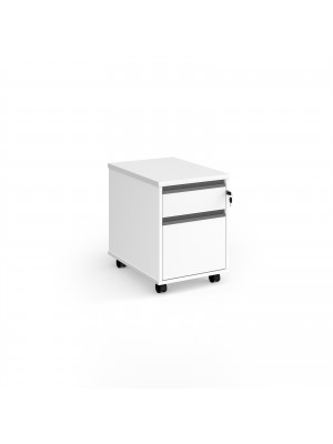 Contract 2 drawer mobile pedestal with graphite finger pull handles - white