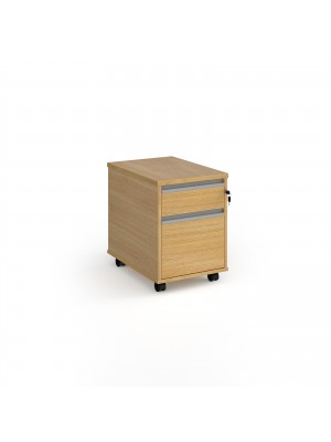 Contract 2 drawer mobile pedestal with silver finger pull handles - oak