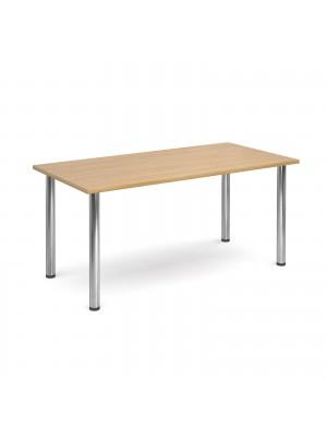 Rectangular deluxe chrome radial leg table 1600mm x 800mm - oak
