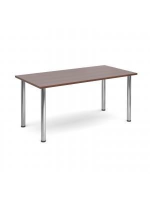 Rectangular deluxe chrome radial leg table 1600mm x 800mm - walnut
