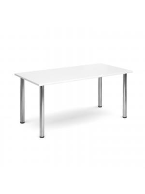 Rectangular deluxe chrome radial leg table 1600mm x 800mm - white