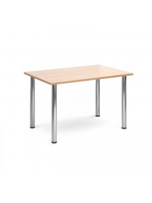 Rectangular deluxe chrome radial leg table 1300mm x 800mm - beech