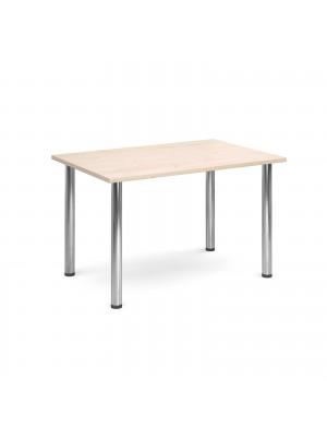 Rectangular deluxe chrome radial leg table 1300mm x 800mm - maple