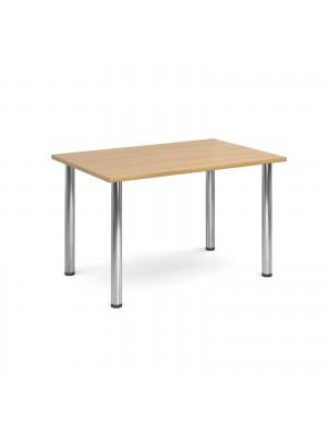 Rectangular deluxe chrome radial leg table 1300mm x 800mm - oak