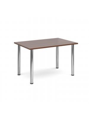 Rectangular deluxe chrome radial leg table 1300mm x 800mm - walnut
