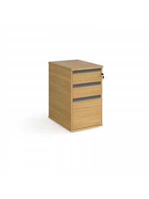 Contract 3 drawer desk high pedestal 600mm deep with graphite finger pull handles - beech