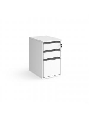 Contract 3 drawer desk high pedestal 600mm deep with graphite finger pull handles - beech