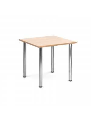 Rectangular deluxe chrome radial leg table 800mm x 800mm - beech
