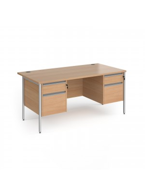 Contract 25 straight desk with 2 and 2 drawer pedestals and silver H-Frame leg 1600mm x 800mm - beech top