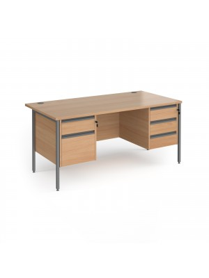 Contract 25 straight desk with 2 and 3 drawer pedestals and graphite H-Frame leg 1600mm x 800mm - beech top