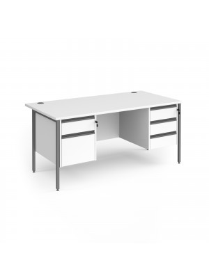 Contract 25 straight desk with 2 and 3 drawer pedestals and graphite H-Frame leg 1600mm x 800mm - white top