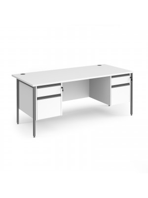 Contract 25 straight desk with 2 and 2 drawer pedestals and graphite H-Frame leg 1800mm x 800mm - white top