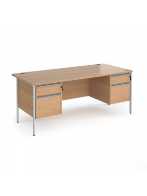 Contract 25 straight desk with 2 and 2 drawer pedestals and silver H-Frame leg 1800mm x 800mm - beech top