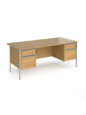 Contract 25 straight desk with 2 and 2 drawer pedestals and silver H-Frame leg 1800mm x 800mm - oak top