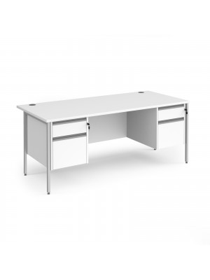 Contract 25 straight desk with 2 and 2 drawer pedestals and silver H-Frame leg 1800mm x 800mm - white top