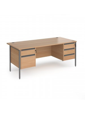 Contract 25 straight desk with 2 and 3 drawer pedestals and graphite H-Frame leg 1800mm x 800mm - beech top