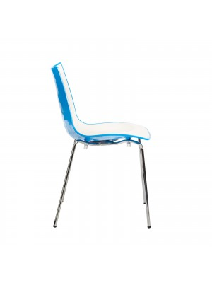 Gecko shell dining stacking chair with anthracite legs - blue