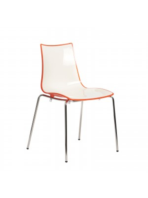 Gecko shell dining stacking chair with anthracite legs - orange
