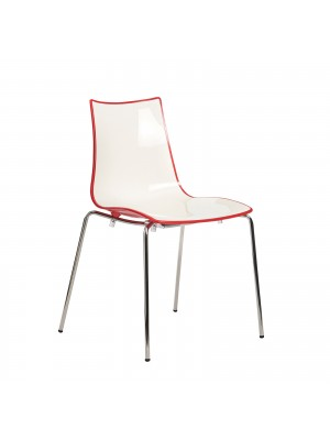 Gecko shell dining stacking chair with anthracite legs - red