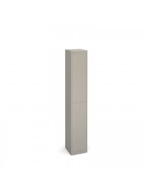 Bisley lockers with 2 doors 305mm deep - grey