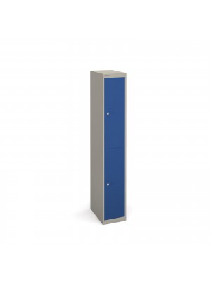 Bisley lockers with 2 doors 457mm deep - grey with blue doors