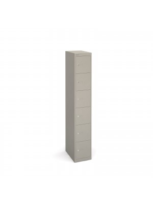 Bisley lockers with 6 doors 457mm deep - grey