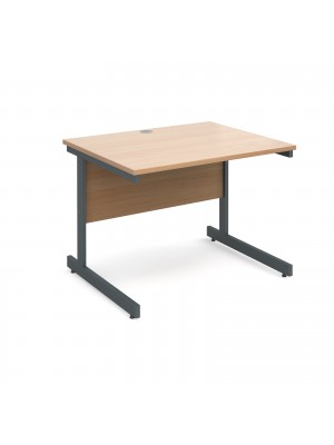 Contract 25 straight desk 1000mm x 800mm - graphite cantilever frame, beech top