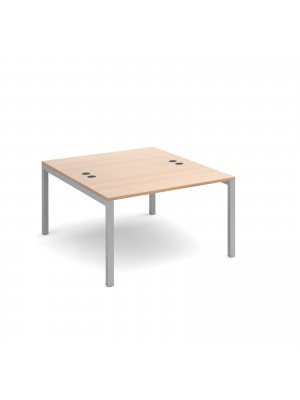 Connex back to back desks 1200mm x 1600mm - silver frame, beech top