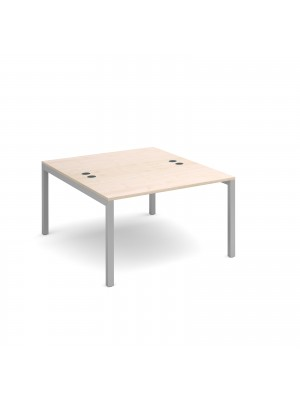 Connex back to back desks 1200mm x 1600mm - silver frame, maple top