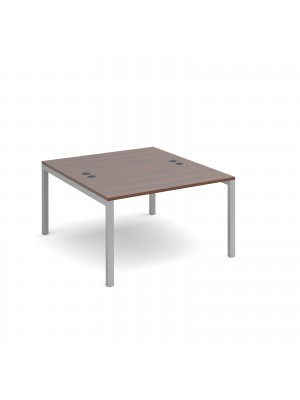 Connex back to back desks 1200mm x 1600mm - silver frame, walnut top