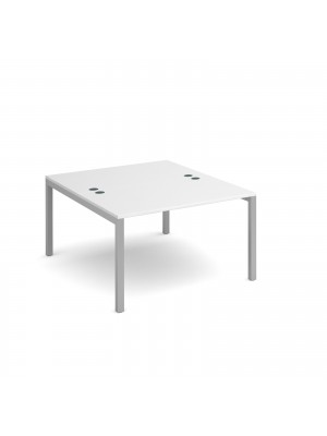 Connex back to back desks 1200mm x 1600mm - silver frame, white top