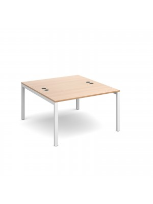 Connex back to back desks 1200mm x 1600mm - white frame, beech top