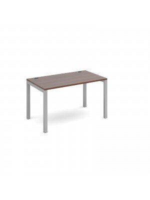 Connex single desk 1200mm x 800mm - silver frame, walnut top