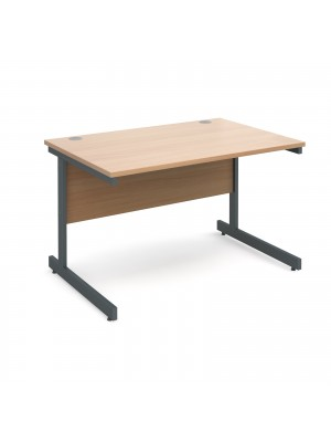 Contract 25 straight desk 1200mm x 800mm - graphite cantilever frame, beech top