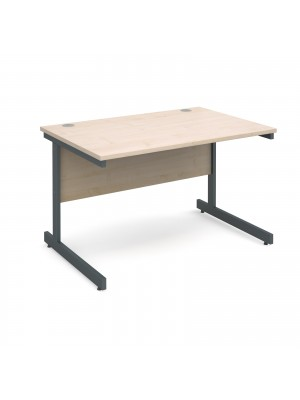 Contract 25 straight desk 1200mm x 800mm - graphite cantilever frame, maple top