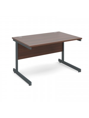Contract 25 straight desk 1200mm x 800mm - graphite cantilever frame, walnut top