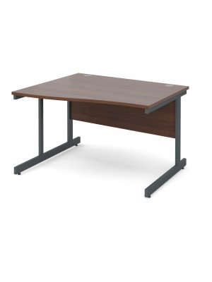 Contract 25 left hand wave desk 1200mm - graphite cantilever frame, walnut top