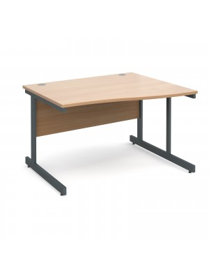 Contract 25 right hand wave desk 1200mm - graphite cantilever frame, beech top