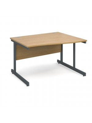 Contract 25 right hand wave desk 1200mm - graphite cantilever frame, oak top