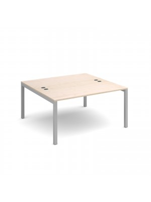 Connex back to back desks 1400mm x 1600mm - silver frame, maple top