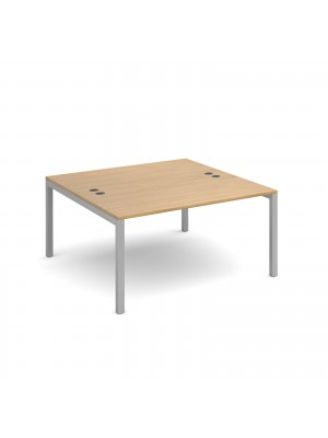 Connex back to back desks 1400mm x 1600mm - silver frame, oak top
