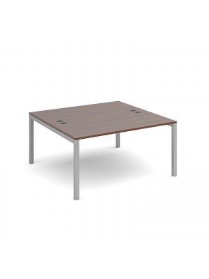 Connex back to back desks 1400mm x 1600mm - silver frame, walnut top