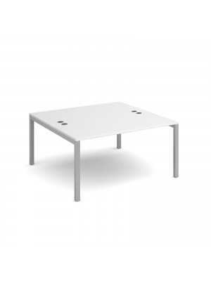 Connex back to back desks 1400mm x 1600mm - silver frame, white top