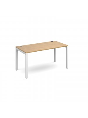 Connex starter unit single 1400mm x 800mm - white frame, oak top