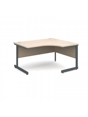 Contract 25 right hand ergonomic desk 1400mm - graphite cantilever frame, maple top
