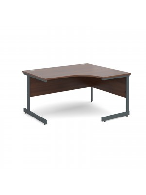 Contract 25 right hand ergonomic desk 1400mm - graphite cantilever frame, walnut top